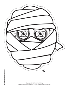 picture about Mummy Printable titled Printable Person Mummy Mask towards Shade Mask