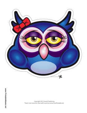 Owl with Bow Mask Printable Mask