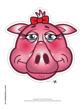 Pig with Bow Mask Printable Mask
