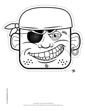 Bandana Pirate Mask to Color Printable Mask