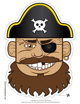 Pirate Captain Mask Printable Mask