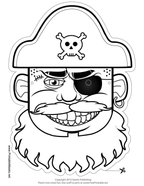 Pirate Captain Mask to Color Printable Mask
