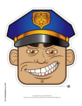 Male Police Officer Mask Printable Mask