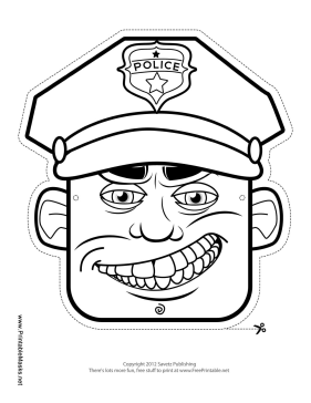 Male Police Officer Mask to Color Printable Mask