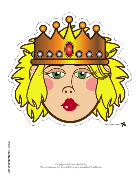 Queen with Crown Mask Printable Mask