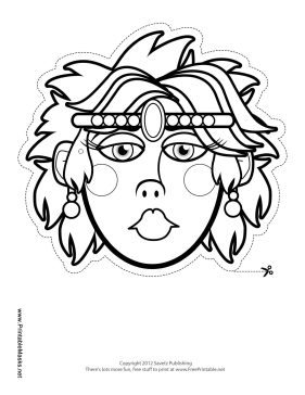 Queen with Tiara Mask to Color Printable Mask