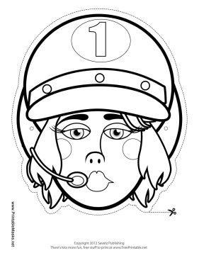 Female Racecar Driver Mask to Color Printable Mask