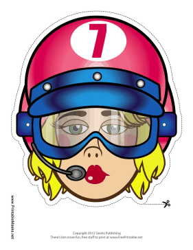 Female Racecar Driver Goggles Mask Printable Mask