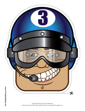 Male Racecar Driver Goggles Mask Printable Mask