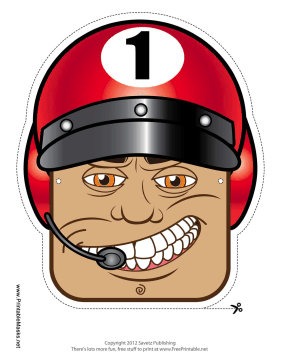 Male Racecar Driver Mask Printable Mask