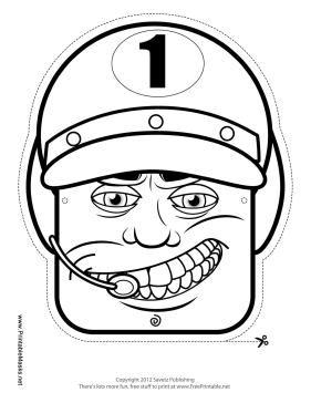 Male Racecar Driver Mask to Color Printable Mask