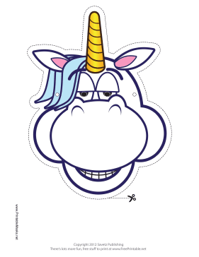 Relaxed Unicorn Mask Printable Mask