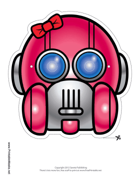 Robot with Bow Mask Printable Mask