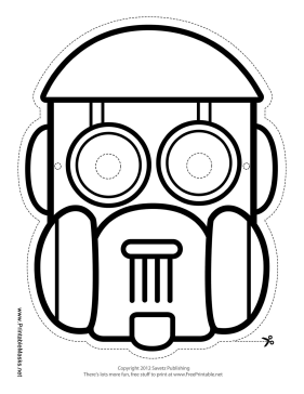 Robot Dome Mask to Color Printable Mask