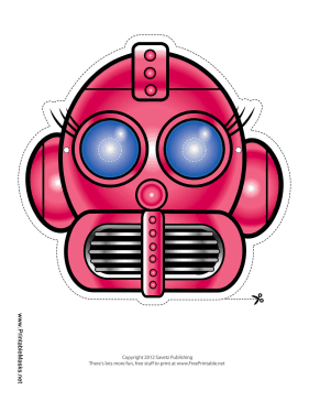 Robot with Eyelashes Mask Printable Mask