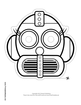 Robot with Eyelashes Mask to Color Printable Mask