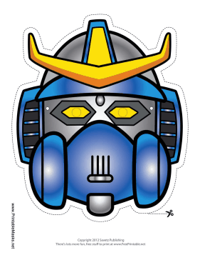 Robot with Horns Crest Mask Printable Mask