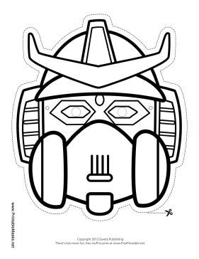 Robot with Horns Crest Mask to Color Printable Mask