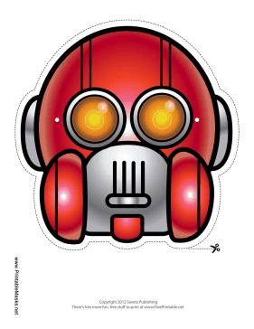 Round Vertical Robot Mask Printable Mask