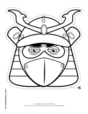 Male Samurai Mask to Color Printable Mask