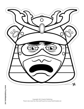 Male Samurai Mouth Mask to Color Printable Mask