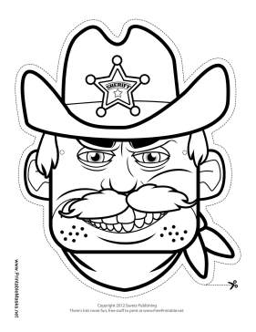 Male Sheriff Mask to Color Printable Mask