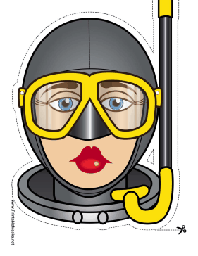 Female Skin Diver Mask Printable Mask
