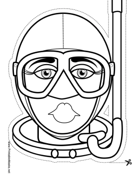 Female Skin Diver Mask to Color Printable Mask