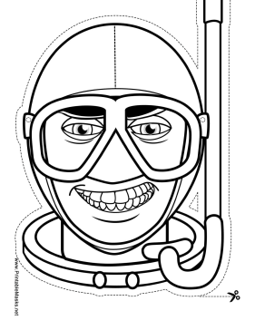 Male Skin Diver Mask to Color Printable Mask