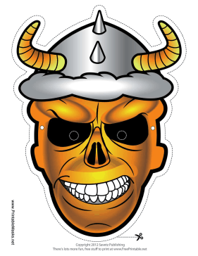 Skull with Horns Mask Printable Mask