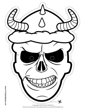 Skull with Horns Mask to Color Printable Mask