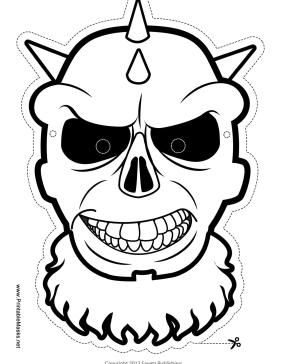 Skull with Spiked Mask to Color Printable Mask