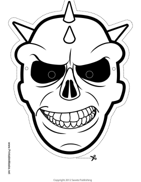 Skull with Spikes Mask to Color Printable Mask