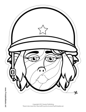 Female Soldier Mask to Color Printable Mask