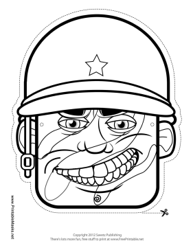 Male Soldier Mask to Color Printable Mask