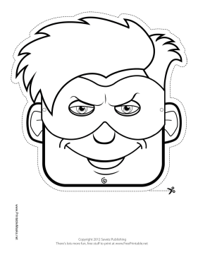 Male Superhero Mask to Color Printable Mask