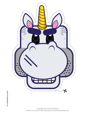 Tough Unicorn Mask Printable Mask