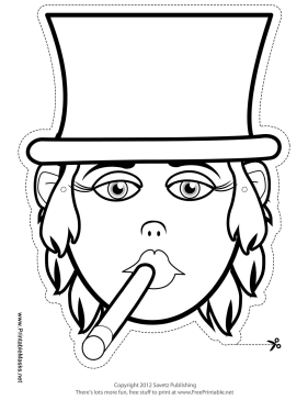 Female Tycoon Mask to Color Printable Mask