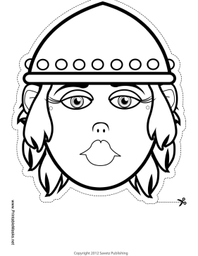 Female Viking Mask to Color Printable Mask