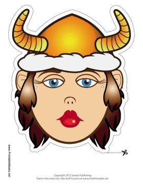 Female Viking with Horns Mask Printable Mask