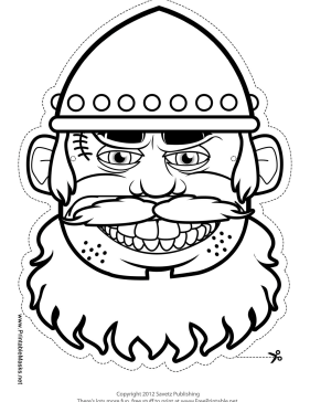 Male Viking Mask to Color Printable Mask