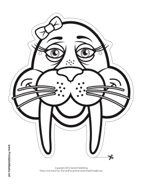 Walrus with Bow Mask to Color Printable Mask