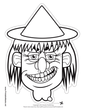 Witch Hat Mask to Color Printable Mask