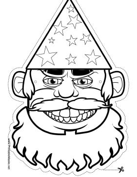 Male Wizard Mask to Color Printable Mask