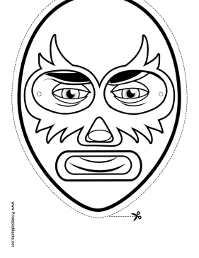 Elaborate Wrestler Mask to Color Printable Mask
