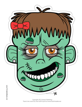 Female Zombie Mask Printable Mask