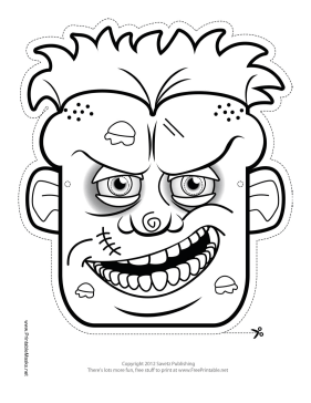 Male Zombie Mask to Color Printable Mask