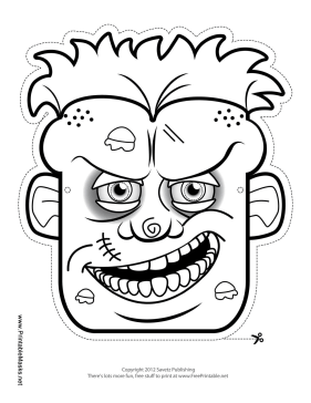 Zombie Mask to Color Printable Mask