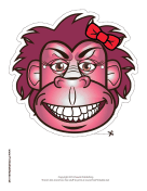 Gorilla with Bow Mask Printable Mask