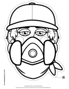 Female Graffiti Artist Mask to Color Printable Mask